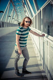 Stylish hipster model with long red hair and beard lifestyle Stock Photo