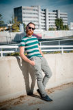 Stylish hipster model with long red hair and beard lifestyle Stock Photos