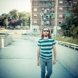 Stylish hipster model with long red hair and beard lifestyle Stock Image
