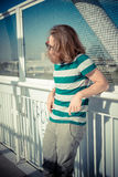 Stylish hipster model with long red hair and beard lifestyle Royalty Free Stock Images