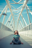 Stylish hipster model with long red hair and beard yoga Stock Photo