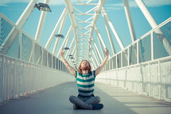 Stylish hipster model with long red hair and beard yoga Stock Images