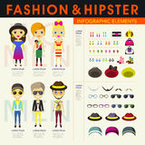 Stylish and hipster's people infographic elements Stock Image