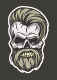 Stylish hipster skull. Line art style. Royalty Free Stock Photos