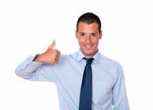 Stylish hispanic man with positive thumb Stock Images