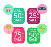 Stylish Home Interior Elements Sale Stickers Set. Home interior elements sale stickers. Brick fireplace, soft couch, indoor plant and small lamp. Stylish Stock Photos