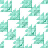 Stylish Houndstooth Seamless Pattern. Repeated Green Triangles Shapes and Stripes on White. Sample for Textile Design stock illustration