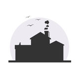 Stylish house silhouette vector illustration. In dark colors with moon background. Logo or icon design, infographics element. With birds, cat and smoke from stock illustration