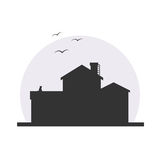 Stylish house silhouette vector illustration. In dark colors with moon background. Logo or icon design, infographics element. With cat and birds stock illustration