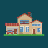 Stylish house vector illustration. Flat design, on dark background, bright colors, detailed image.Car included royalty free illustration