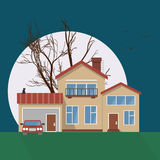 Stylish house vector illustration. Flat design image of building with moon, tree, cat silhouette and birds. Halloween vector illustration