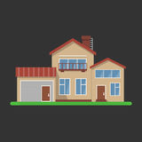Stylish house vector illustration. Flat design, isolated on black background, bright colors, detailed image Royalty Free Stock Photo