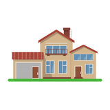 Stylish house vector illustration. Flat design, isolated on white background, bright colors, detailed image vector illustration