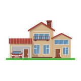 Stylish house vector illustration. Flat design, isolated on white background, bright colors, detailed image.Car included vector illustration