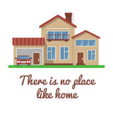 Stylish house vector illustration. Flat design, isolated on white background, bright colors, detailed image. Text example Royalty Free Stock Photo