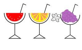 3 stylish icons fruit cocktail Royalty Free Stock Photos