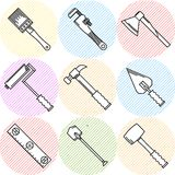 Stylish icons for woodwork tools Stock Image