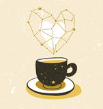 Stylish illustration with cup of tea or coffee.  Hipster poster design. Stock Image