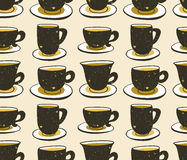 Stylish illustration with cups of coffee. Vector seamless pattern. Hipster design. Royalty Free Stock Photo