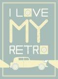 Stylish image with retro car on light blue background Royalty Free Stock Image