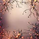 Festive garland sparkles on branches of trees. Festive dark gold blurred background. Gold glitter texture. Magic bokeh texture. Royalty Free Stock Photo