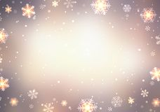 Vintage pastel blurred frame decorated with snowflakes and sparkles. Bokeh snowflakes texture. Christmas pastel delicate Royalty Free Stock Images