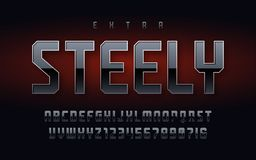 Stylish industrial chrome alphabet, uppercase letters and numbers. vector illustration