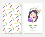 Stylish inspiration card in cute style with cartoon funny hedgehog. Template for print design.Back to school. Stock Images