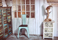 Stylish interior corner with sea and beach shabby design ideas Royalty Free Stock Photos