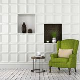 Stylish interior with green armchair Stock Images