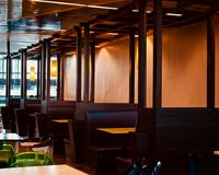 Beautiful sitting arrangements of a restaurant unique photo. Stylish interior sitting arrangements of a restaurant furniture unique photograph royalty free stock photography