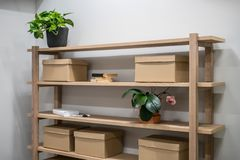 Free Stylish Interior With Wooden Shelves And Gray Walls Royalty Free Stock Photo - 126348225