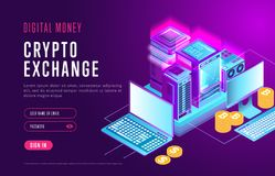 Web design of page for crypto exchange. Stylish Internet webpage about digital money and authorization in service for cryptocurrency exchange Royalty Free Stock Image
