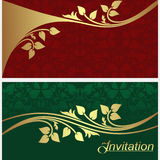 Stylish invitation Cards with golden floral Elements. Royalty Free Stock Images