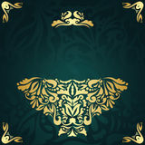 Stylish invitation with gold decoration Royalty Free Stock Images
