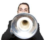 Stylish jazz man playing the trumpet. On white background Stock Photography