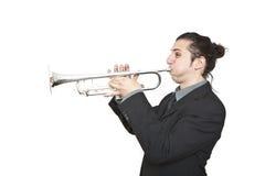 Stylish jazz man playing the trumpet. On white background Royalty Free Stock Image
