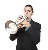 Stylish jazz man playing the trumpet. On white background Stock Photo