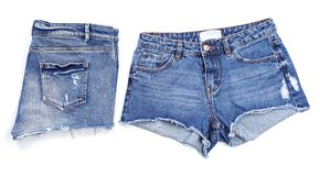 Stylish jean shorts on white background,. Top view stock images