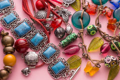 Stylish Jewellery with Colorful Stones and Beads Royalty Free Stock Photography