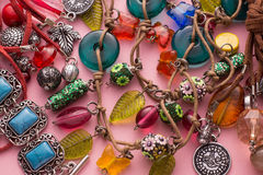 Stylish Jewellery with Colorful Stones and Beads Royalty Free Stock Photos