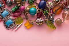 Stylish Jewellery with Colorful Stones and Beads Royalty Free Stock Images