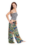 Stylish joyful young woman in fashionable trousers Royalty Free Stock Images