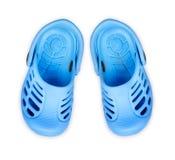 Stylish kids sandals on white background Royalty Free Stock Photos