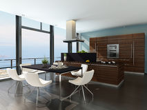 Stylish kitchen interior with cooking island Stock Photography
