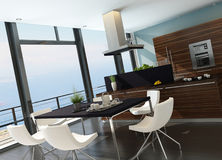 Stylish kitchen interior with cooking island and seascape view Stock Image