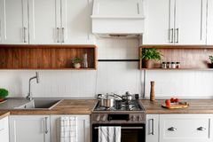 Stylish kitchen interior with modern cabinets and stainless steel appliances in new home. design in scandinavian style. cooking f