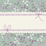 Stylish lace frame with cute colorful flowers Stock Photos