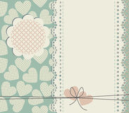Stylish lace frame with decorative hearts Stock Photos