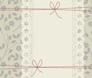 Stylish lace frame with elegant flowers and red bows Stock Image